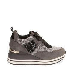 Sneakers grigie in tessuto, zeppa 6 cm , Primadonna, 182817233TSGRIG035, 001a