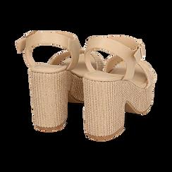 Sandali beige in rafia, tacco-zeppa 10 cm , Chaussures, 154955172RFBEIG036, 004 preview