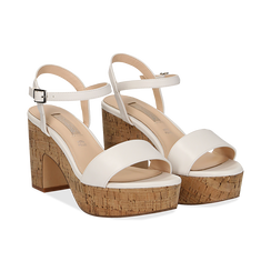 Sandali bianchi in eco-pelle, tacco in sughero 9 cm, Saldi Estivi, 138402256EPBIAN038, 002 preview