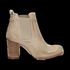 Chelsea boots traforati beige in vitello, tacco 8,50 cm , Scarpe, 138900880VIBEIG036, 001 preview