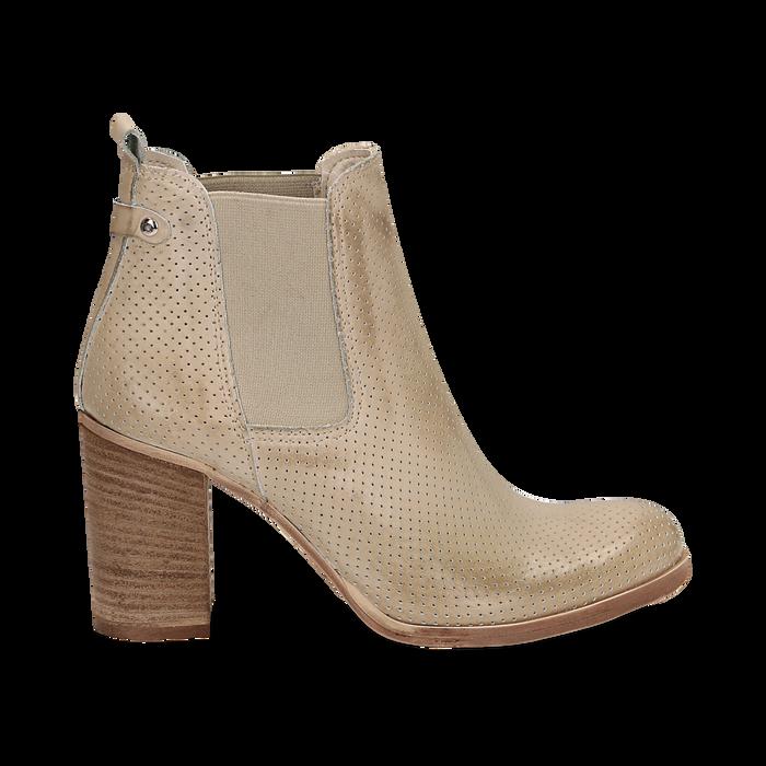 Chelsea boots traforati beige in vitello, tacco 8,50 cm , Scarpe, 138900880VIBEIG036