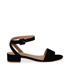 Sandali bassi neri in microfibra, tacco 3,50 cm, Scarpe, 134819193MFNERO035, 001a