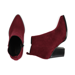 Ankle boots bordeaux in microfibra, tacco 8,50 cm, Primadonna, 160585965MFBORD035, 003 preview