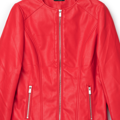 Giacca sfiancata rossa in eco-pelle , Primadonna, 136500777EPROSSL, 002a