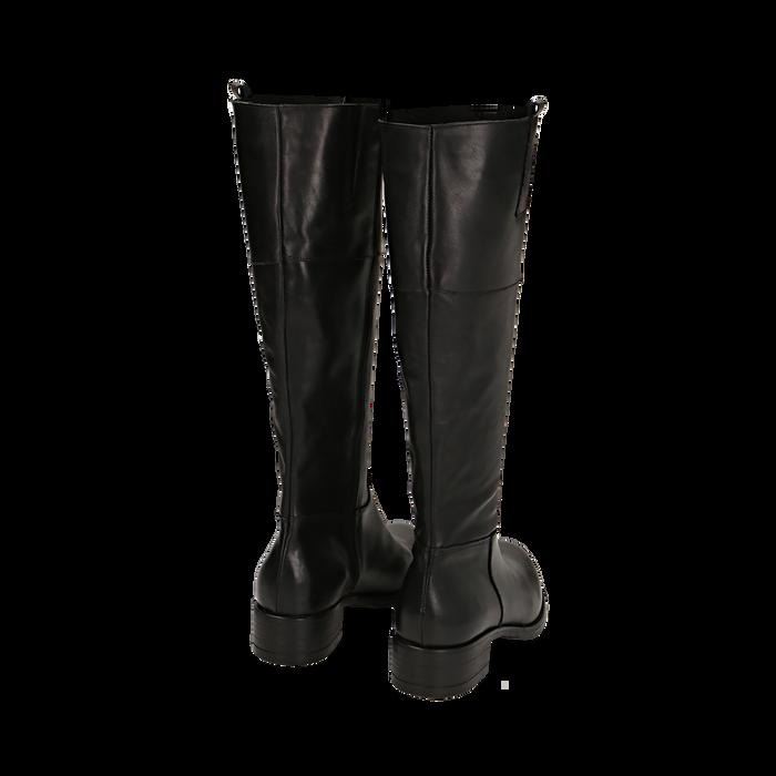 Stivali neri in pelle di vitello, tacco 3,5 cm