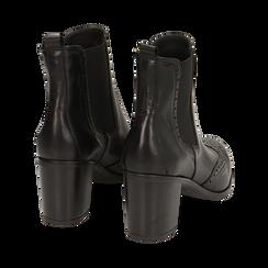 Ankle boots neri in pelle, tacco 7,50 cm, Primadonna, 167738004PENERO035, 004 preview