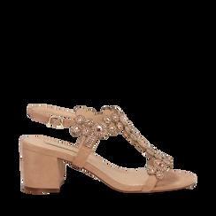 Sandali con strass nude in microfibra, tacchi 6,50 cm, Primadonna, 134956321MFNUDE035, 001a