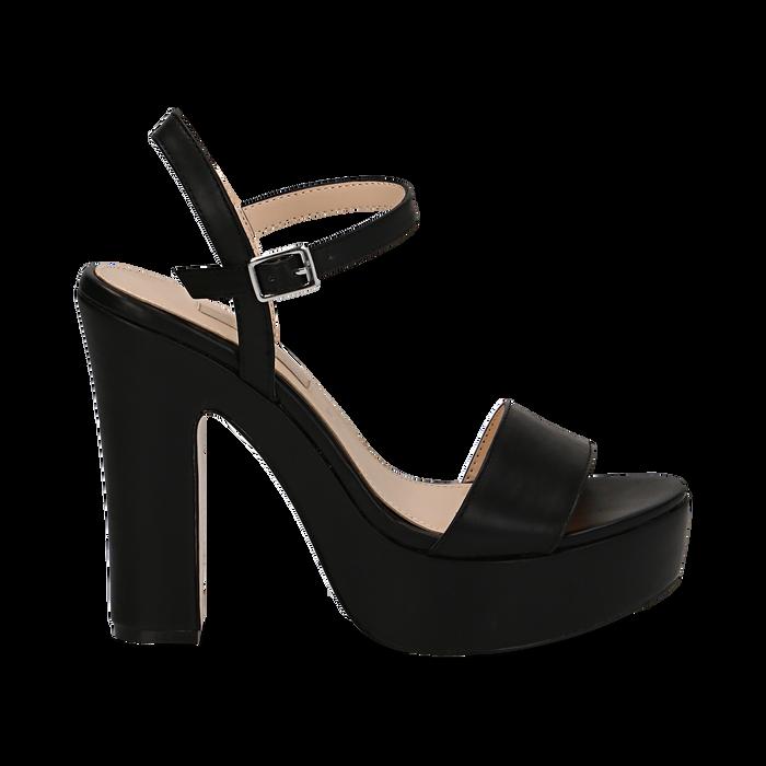 Sandali con plateau neri in eco-pelle, tacco 13 cm , Scarpe, 138404164EPNERO035
