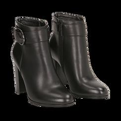 Ankle boots neri in eco-pelle, tacco 9,5 cm , Stivaletti, 143058705EPNERO036, 002 preview