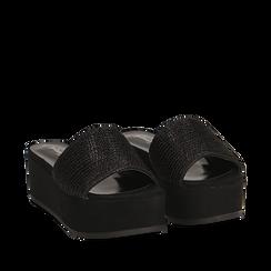 Zeppe platform nere con fascia laminata, zeppa 5 cm, Saldi Estivi, 111702707LMNERO035, 002a