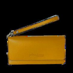 Portafoglio giallo in eco-pelle con laccetto per il polso, Borse, 133723651EPGIALUNI, 001a