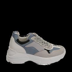 Dad shoes celesti in microfibra, Sneakers, 152899259MFCELE035, 001a