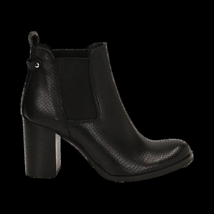 Chelsea boots traforati neri in vitello, tacco 8,50 cm , Scarpe, 138900880VINERO036