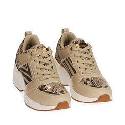 Sneakers beige, zeppa 7,5 cm , Primadonna, 182663020EPBEIG035, 002a
