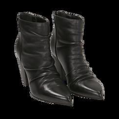 Camperos neri in pelle, tacco 8,5 cm , Scarpe, 14D600911PENERO035, 002a