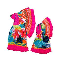 Caftano de niña multicolor en tejido, 150500001TSMULT6, 002a