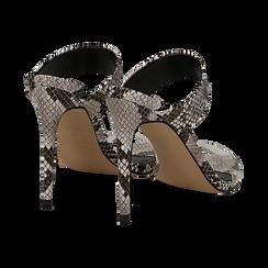 Sandali con punta affusolata nero/bianchi in eco-pelle, listino in pvc, tacco 11 cm, Sandali con tacco, 131732601PTNEBI035, 004 preview
