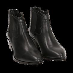 Chelsea boots neri in pelle di vitello, tacco 3,5 cm, Primadonna, 15J492413VINERO037, 002a