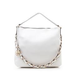 Maxi bag bianca in eco-pelle con tracolla decor, Borse, 133881161EPBIANUNI, 001a