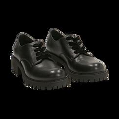 Stringate nere in eco-pelle con lacci in velluto, Scarpe, 140585669EPNERO036, 002 preview