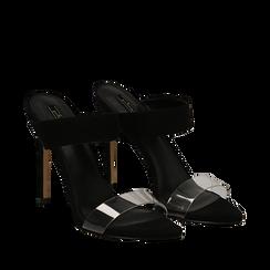 Sandali con punta affusolata neri in microfibra, listino in pvc, tacco 11 cm, Scarpe, 131732601MFNERO035, 002a