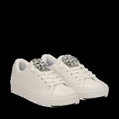 Sneakers bianche in eco-pelle con gemme scintillanti, Scarpe, 132619101EPBIAN035, 002a