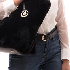 Cintura nera in eco-pelle, Abbigliamento, 144045701EPNEROUNI, 002a