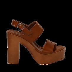 Sandali platform cuoio in eco-pelle con due fasce, tacco 12 cm , Saldi Estivi, 132147761EPCUOI035, 001a