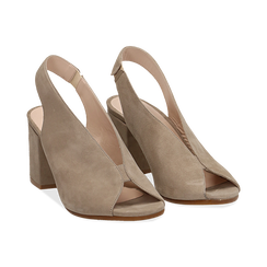 Slingback taupe in camoscio, tacco 8 cm , Primadonna, 13D602014CMTAUP036, 002 preview
