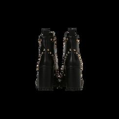 Tronchetti neri con borchie, tacco 9 cm, Scarpe, 129316655EPNERO, 003 preview