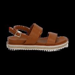 Sandali platform cuoio in eco-pelle, zeppa 4 cm, Saldi, 132172081EPCUOI036, 001 preview