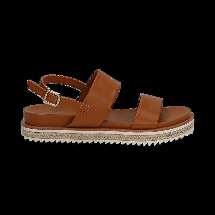 Sandali platform cuoio in eco-pelle, zeppa 4 cm, Saldi, 132172081EPCUOI036