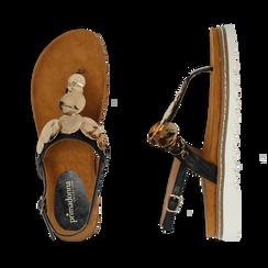 Sandali infradito neri in eco-pelle con suola bianca, Primadonna, 134922304EPNERO035, 003 preview