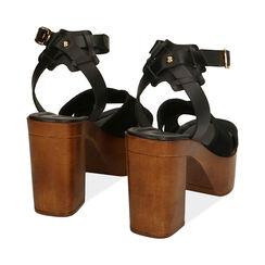 Sandali neri in camoscio, tacco 10,5 cm , Primadonna, 174304899CMNERO035, 004 preview