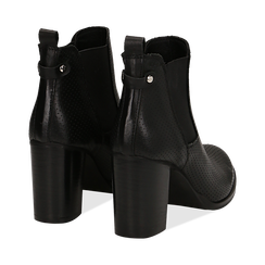 Chelsea boots traforati neri in vitello, tacco 8,50 cm , Scarpe, 138900880VINERO036, 004 preview