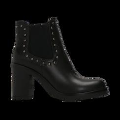Tronchetti neri con profilil elastici e mini-borchie, tacco 5 cm, Primadonna, 129321587EPNERO040, 001 preview