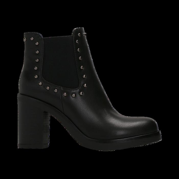 Tronchetti neri con profilil elastici e mini-borchie, tacco 5 cm, Primadonna, 129321587EPNERO040