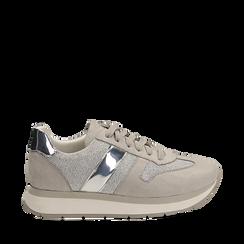 Sneaker grigia in microfibra con dettaglio mirror, Scarpe, 132899622MFGRIG036, 001a