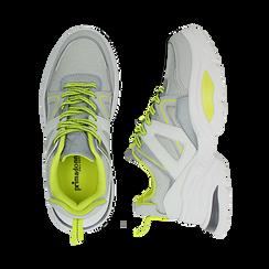 Dad shoes bianche in tessuto tecnico con dettagli fluo, zeppa 6 cm , Scarpe, 14D814101TSBIAN035, 003 preview