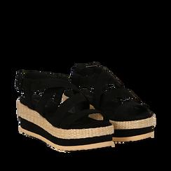 Sandali platform neri in microfibra, zeppa in rafia 5 cm , Saldi Estivi, 134996275MFNERO035, 002a