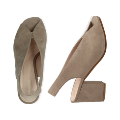 Slingback taupe in camoscio, tacco 8 cm , Primadonna, 13D602014CMTAUP036, 003 preview