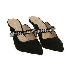 Sabot gioiello neri in microfibra, tacco 8 cm , Scarpe, 172119085MFNERO035, 002 preview