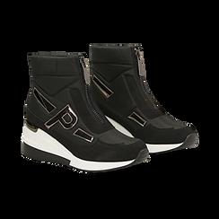 Sneakers a calza nere in tessuto tecnico, zeppa 6 cm ,