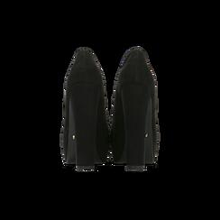 Décolleté nere scamosciate con plateau, tacco 13,5 cm, Primadonna, 122103011MFNERO038, 003 preview