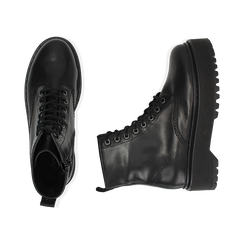 Anfibi platform neri in pelle, suola 4,5 cm , Stivaletti, 147728502PENERO038, 003 preview