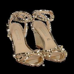 Sandalias efecto espejo color dorado, cuña 9 cm , Zapatos, 152154429SPOROG038, 002a