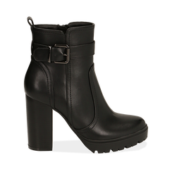 Ankle boots neri, tacco 10 cm , 160597722EPNERO037, 001a