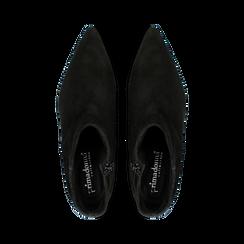 Tronchetti neri a punta, con tacco medio 4,5 cm, Primadonna, 127242325CMNERO, 004 preview