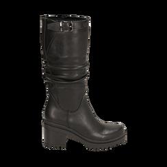 Biker boots neri in eco-pelle, tacco 8 cm , 142828192EPNERO035, 001a