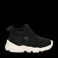 Sneakers a calza nere in lycra, zeppa 6 cm , Scarpe, 14D814509LYNERO036, 001a